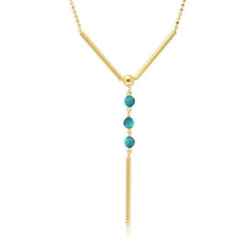 Wholesale Sterling Silver 925 Gold Plated DC Bead Chain with Dangling Turquoise Beads - DIN00074GP-TQ