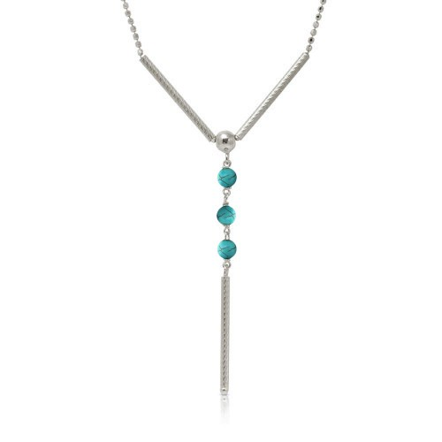 Wholesale Sterling Silver 925 Rhodium Plated DC Bead Chain with Dangling Turquoise Beads - DIN00074RH-TQ