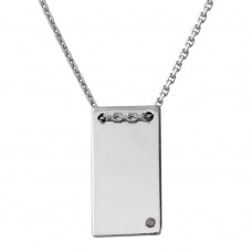 Wholesale Sterling Silver 925 Rhodium Plated Engravable Rectangular Shaped Necklace with CZ - DIN00075RH