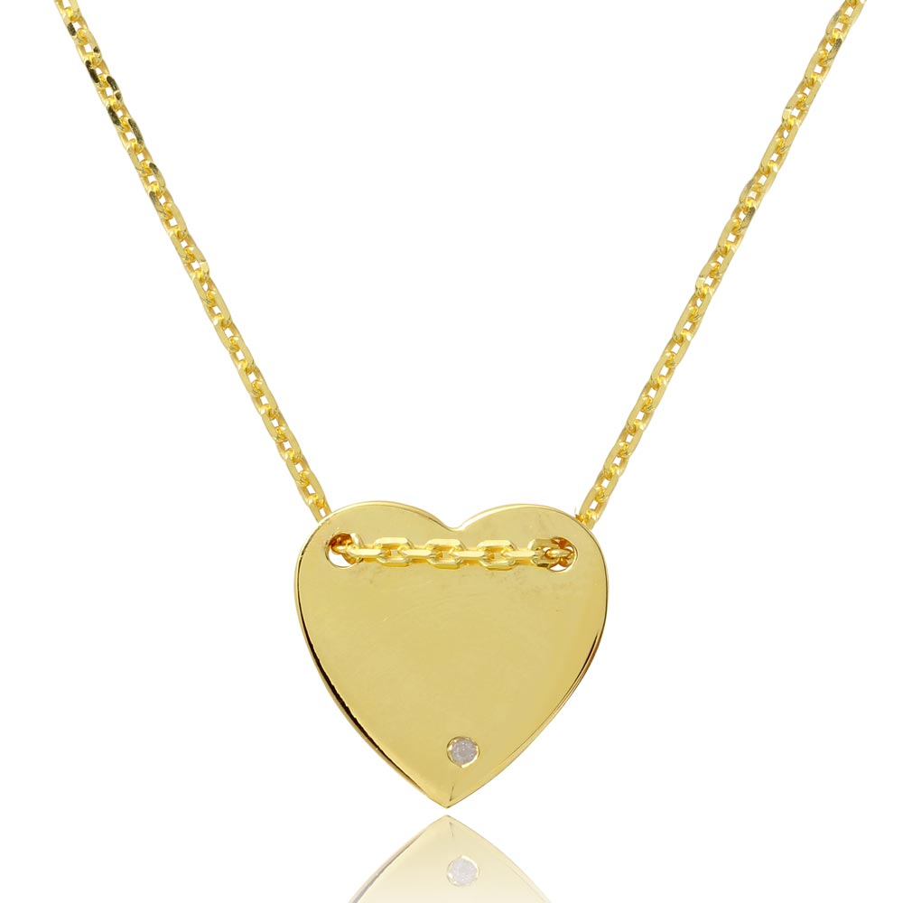 Wholesale Sterling Silver 925 Gold Plated Engravable Heart Shaped Necklace with CZ - DIN00076GP