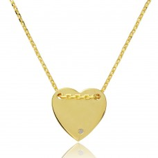 Sterling Silver Gold Plated Engravable Heart Shaped Necklace with CZ - DIN00076GP