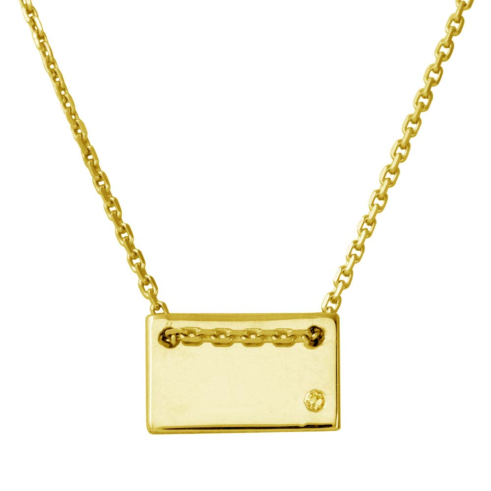 Wholesale Sterling Silver 925 Gold Plated Engravable Small Rectangle Shaped Necklace with CZ - DIN00077GP
