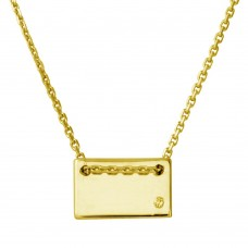 Sterling Silver Gold Plated Engravable Small Rectangle Shaped Necklace with CZ - DIN00077GP