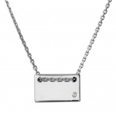 Sterling Silver Rhodium Plated Engravable Small Rectangle Shaped Necklace with CZ - DIN00077RH
