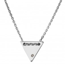 Wholesale Sterling Silver 925 Rhodium Plated Engravable Diamond Shaped Necklace with CZ - DIN00078RH