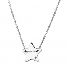 Sterling Silver Rhodium Plated Engravable Star Shaped Necklace with CZ - DIN00079RH