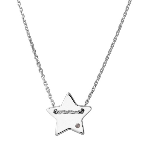 Wholesale Sterling Silver 925 Rhodium Plated Engravable Star Shaped Necklace with CZ - DIN00079RH