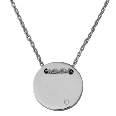 Sterling Silver Rhodium Plated Engravable Circle Necklace with CZ - DIN00080RH