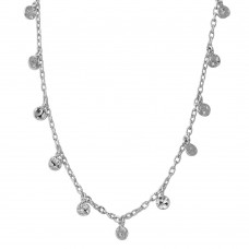 Wholesale Sterling Silver 925 Rhodium Plated Dangling Circle Confetti Necklace - DIN00081RH