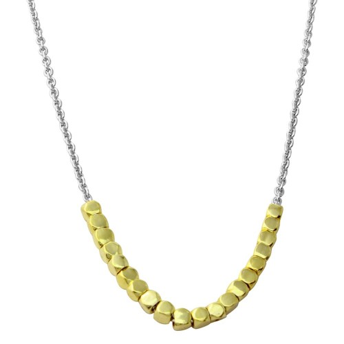 Wholesale Sterling Silver 925 Gold and Rhodium Plated Necklace with Circle Hoops - DIN00082RH/GP