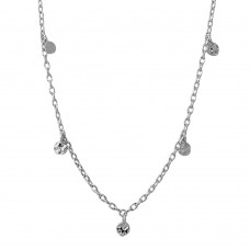 Sterling Silver Rhodium Plated Dangling 5 Confetti Necklace - DIN00083RH