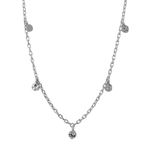 Wholesale Sterling Silver 925 Rhodium Plated Dangling 5 Confetti Necklace - DIN00083RH