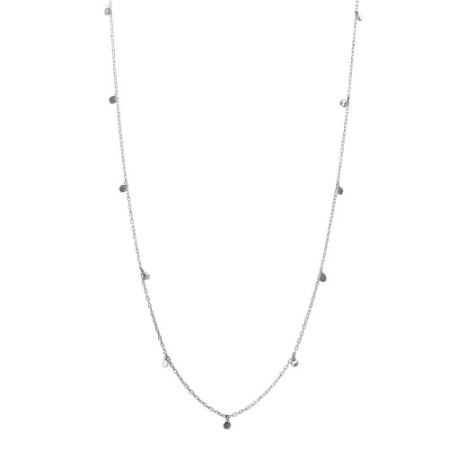 Wholesale Sterling Silver 925 Rhodium Plated Dangling Circle Confetti Long Necklace - DIN00084RH