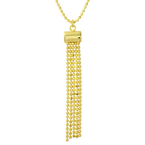 Wholesale Sterling Silver 925 Gold Plated DC Bead Chain with 5 Dangling Tassle Pendant - DIN00085GP