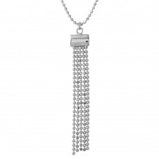 Wholesale Sterling Silver 925 Rhodium Plated DC Bead Chain with 5 Dangling Tassle Pendant - DIN00085RH