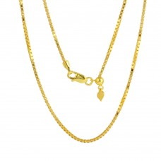 Sterling Silver Gold Plated Adjustable Box Slider Chain With Hanging Heart - DIN00086GP