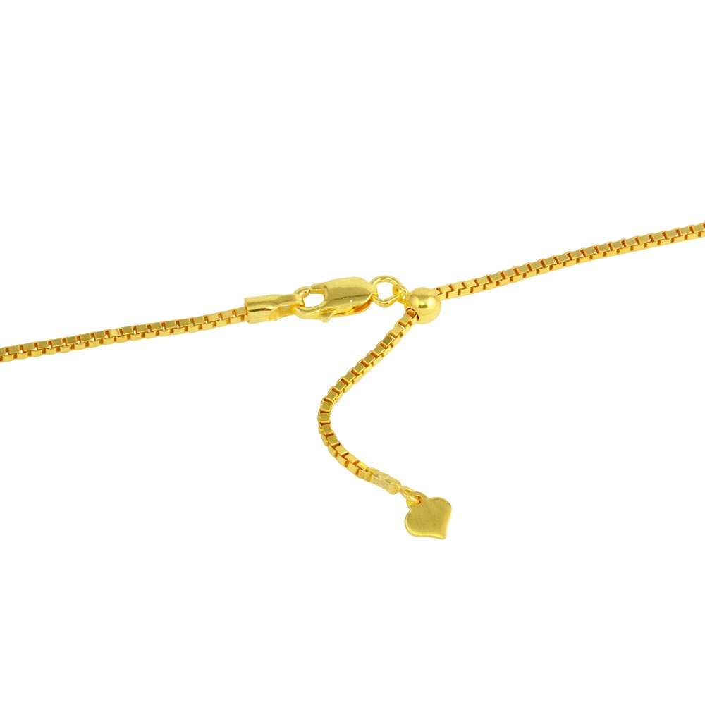 Wholesale Sterling Silver 925 Gold Plated Adjustable Box Slider Chain with Hanging Heart - DIN00086GP