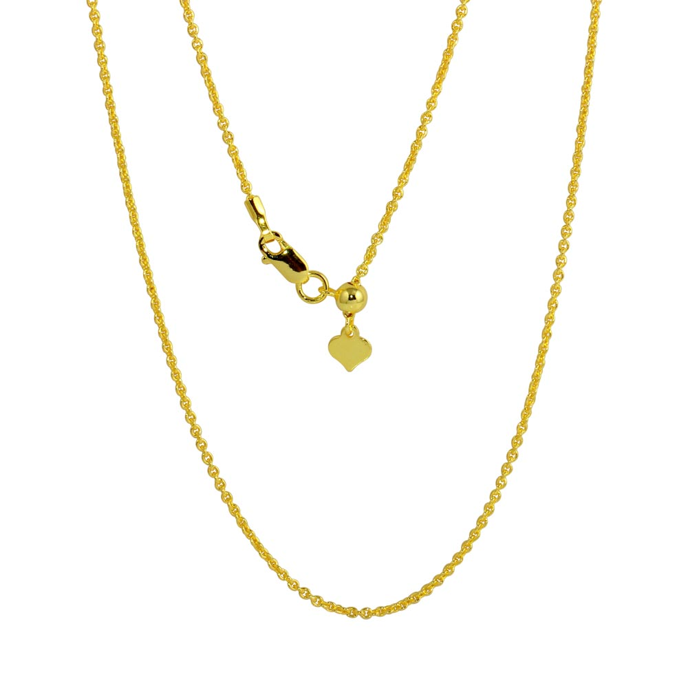 Wholesale Sterling Silver 925 Gold Plated Adjustable Link Slider Chain with Hanging Heart - DIN00087GP
