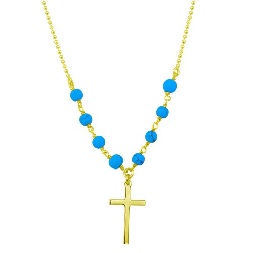 Wholesale Sterling Silver 925 Gold Plated Small Cross Necklace with Turquoise Beads - DIN00089GP