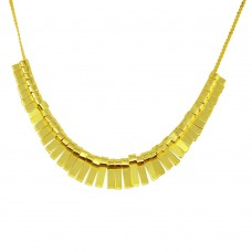 Sterling Silver Gold Plated Multi Flat Bar Accent Necklace - DIN00093GP