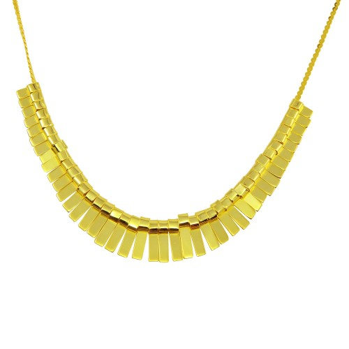 Wholesale Sterling Silver 925 Gold Plated Multi Flat Bar Accent Necklace - DIN00093GP