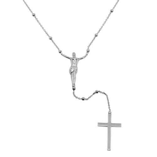 Wholesale Sterling Silver 925 Rhodium Plated Crucifix Rosary Necklace - DIN00094RH