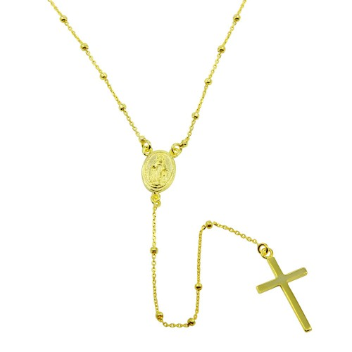 Wholesale Sterling Silver 925 Gold Plated Rosary Beaded Necklace - DIN00095GP
