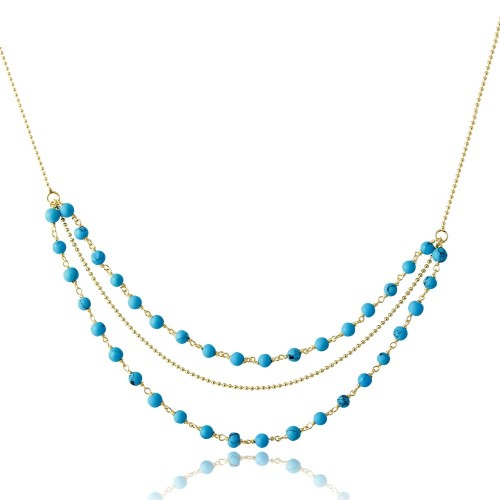 Wholesale Sterling Silver 925 Gold Plated Triple Strand Turquoise Bead Necklace - DIN00071GP