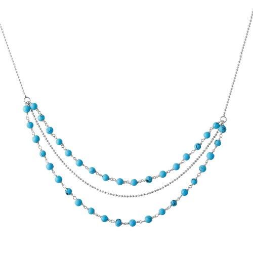 Wholesale Sterling Silver 925 Rhodium Plated Triple Strand Turquoise Bead Necklace - DIN00071RH