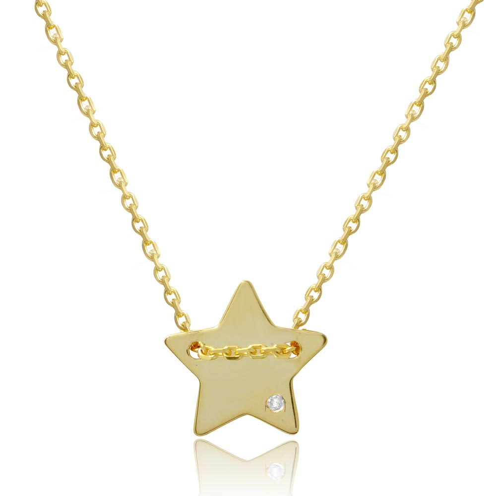 Wholesale Sterling Silver 925 Gold Plated Engravable Star Shaped Necklace with CZ - DIN00079GP