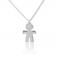 Sterling Silver Rhodium Plated Baby Boy Necklace - DIN00064RH