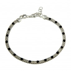 Wholesale Sterling Silver 925 Rhodium Plated Bracelet with Black CZ Stones - ECB00018BLK