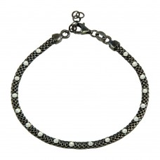 Wholesale Sterling Silver 925 Black Rhodium Plated Bracelet with White CZ Stones - ECB00018BRH