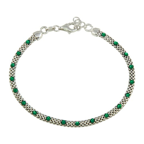 Wholesale Sterling Silver 925 Rhodium Plated Bracelet with Green CZ Stones - ECB00018GRN