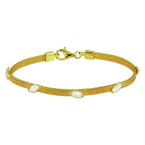 Wholesale Sterling Silver 925 Gold Plated Flat Bracelet with CZ Stones - ECB00048Y