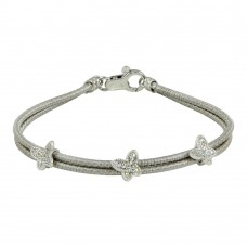 Wholesale Sterling Silver 925 Rhodium Plated Double Strand Butterfly Bracelet - ECB00056RH