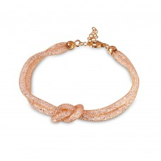Wholesale Sterling Silver 925 Italian Rose Gold Plated Mesh Knot Center Design Bracelet with CZ - ECB00071R