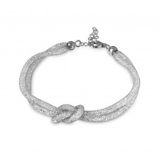 Wholesale Sterling Silver 925 Italian Rhodium Plated Mesh Knot Center Design Bracelet with CZ - ECB00071RH