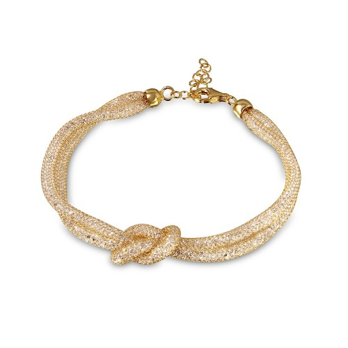Wholesale Sterling Silver 925 Italian Gold Plated Mesh Knot Center Design Bracelet with CZ - ECB00071Y