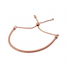Wholesale Sterling Silver 925 Rose Gold Plated Italian Lariat Bracelet - ECB00096RGP