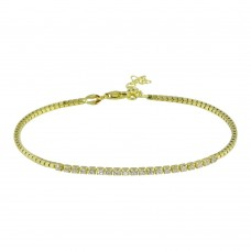 Wholesale Sterling Silver 925 Gold Plated CZ Bracelet - ECB00106GP