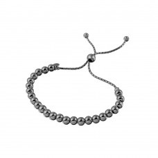 Wholesale Sterling Silver 925 Rose Black Rhodium Plated Beaded Lariat Italian Bracelet 5.2mm - DIB00016RT