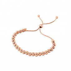 Wholesale Sterling Silver 925 Rose Gold Plated Beaded Lariat Italian Bracelet 5.2mm - DIB00016RGP