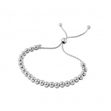 Wholesale Sterling Silver 925 Rhodium Plated Beaded Lariat Italian Bracelet 5.2mm - DIB00016RH