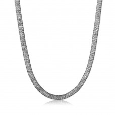 Wholesale Sterling Silver 925 Black Rhodium Plated Mesh Embedded CZ Thin Italian Necklace - ECN00007BL