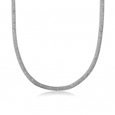 Wholesale Sterling Silver 925 Rhodium Plated Thin Italian Necklace Mesh Embedded CZ - ECN00007RH