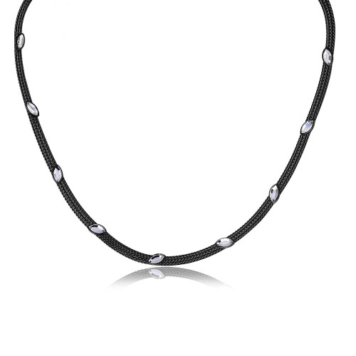 Wholesale Sterling Silver 925 Black Rhodium Plated Italian Necklace With Marquise Stone Crystals - ECN00009B