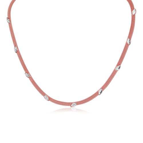 Wholesale Sterling Silver 925 Rose Gold Plated Italian Necklace with Marquise Stone Crystals - ECN00009R