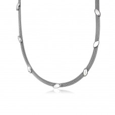 Wholesale Sterling Silver 925 Rhodium Plated Italian Necklace with Marquise Stone Crystals - ECN00009RH