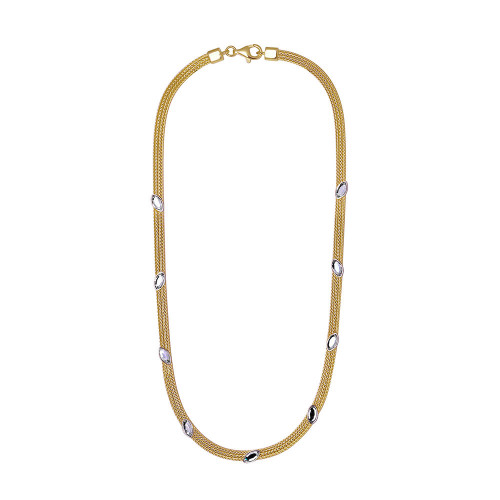 Wholesale Sterling Silver 925 Gold Plated Italian Necklace with Marquise Stone Crystals - ECN00009Y